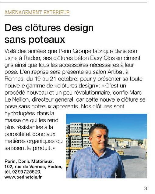 Les clôtures design de Perin dans Ouest-France