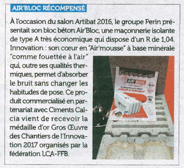 Le magazine Zepros vante les mérites d'Air'Bloc®