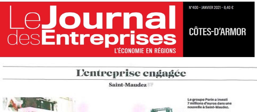 """Article du Journal des Entreprise du 30 novembre 2020 : """"Perin  soigne l'empreinte carbone de ses parpaings Par Julien Uguet"""""""
