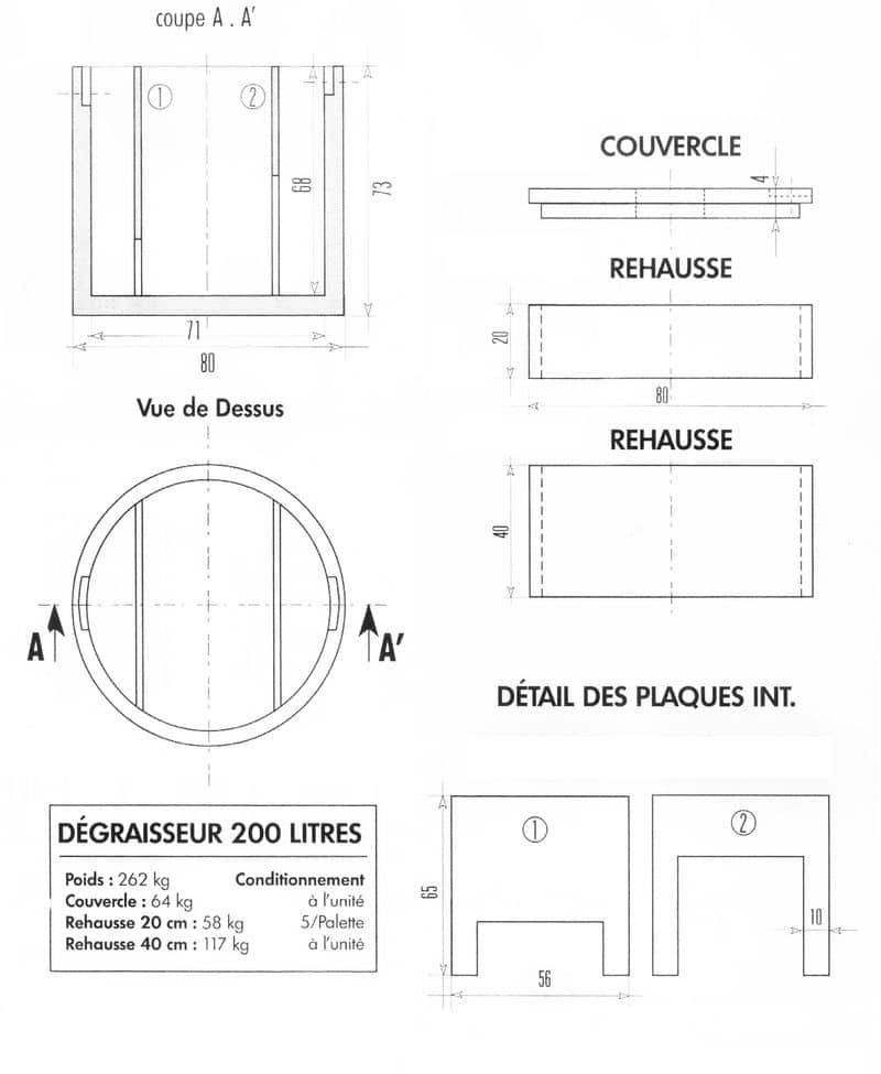 bac d graisseur 200 l perin groupe. Black Bedroom Furniture Sets. Home Design Ideas