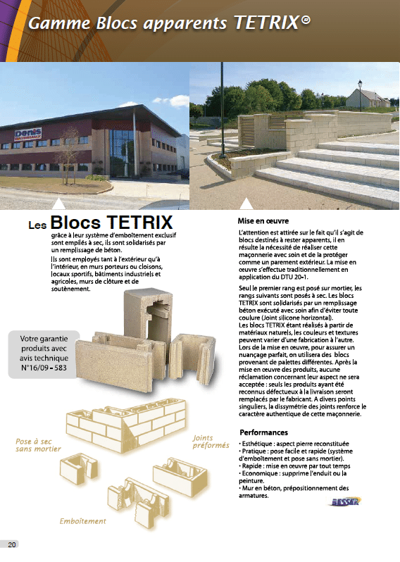 Blocs Tetrix Perin Groupe