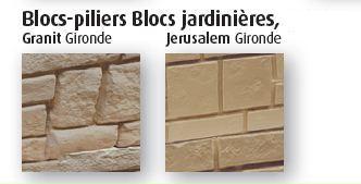 Couleur blocs jardinières Granit et Jérusalem